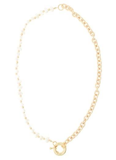 Monamoda Amörf Detaylı Zincir Kolye Altın